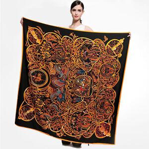 Black-amp-Gold-Silk-Head-Scarf-Women-039-s-Fashion-Print-Square-Big-Shawl-Scarf-51-034-51-034