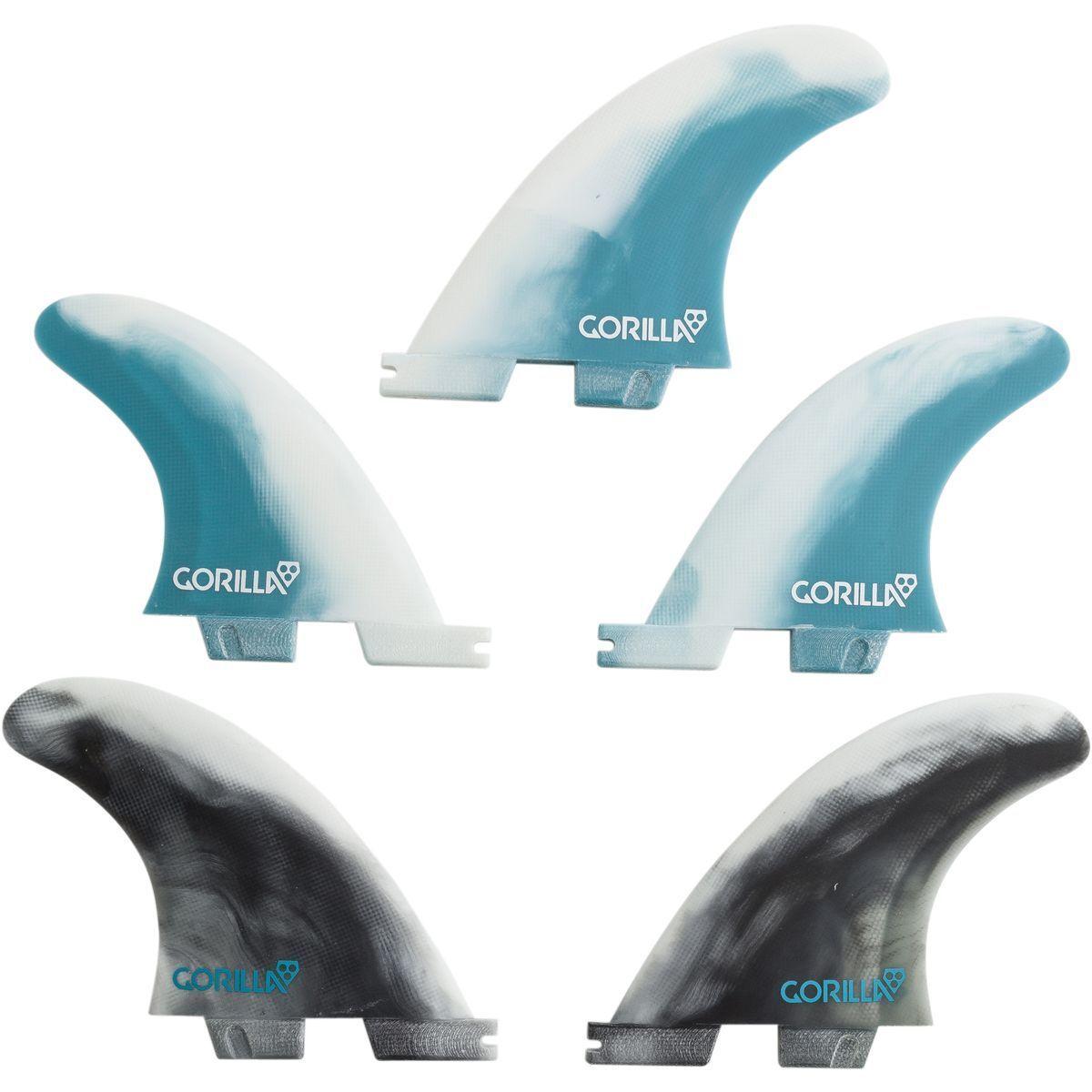 FCS 2 Gorilla Core Tri - Quad Medium Fin Set (5 Fins) Thruster or Quad Surfboard