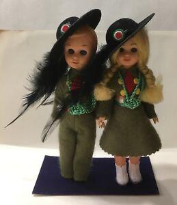 Dettagli su 70197 2 bamboline in panno Lenci Esercito Italiano Bersaglieri vintage