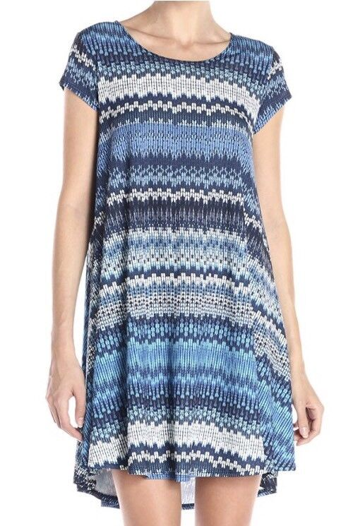 Karen Kane bluee Mesa Maggie Trapeze Stretch Jersey Dress Sz Small