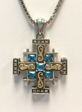 Sterling Silver 18K Gold Swiss Blue Topaz & Diamond Jerusalem Cross Necklace