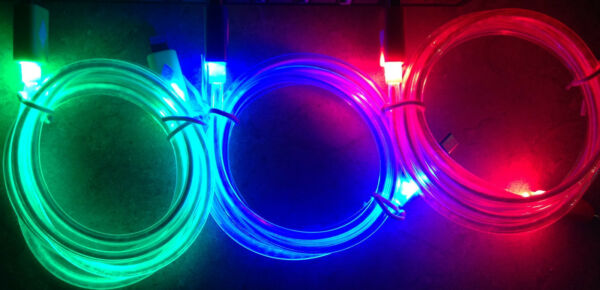 GLOW IN THE DARK light-up LED USB Data Cable charger FOR Apple iPhone X 8 7 6 5S