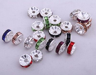 8mm 50pcs Rhinestone Crystal Wavy Flower Rondelle Spacer Beads Jewelry Finding