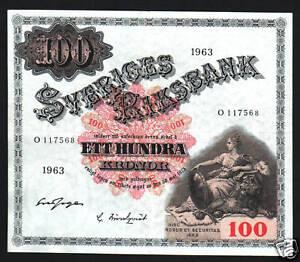 SWEDEN-100-KRONER-P48-1963-SWEDISH-KING-GUSTAV-LARGE-SQUARE-AU-MONEY-BILL-NOTE