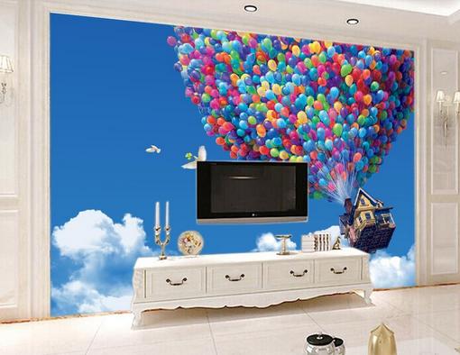 3D Himmel Ballon Hütte 452 Tapete Tapeten Mauer Foto Familie Tapete Wandgemälde
