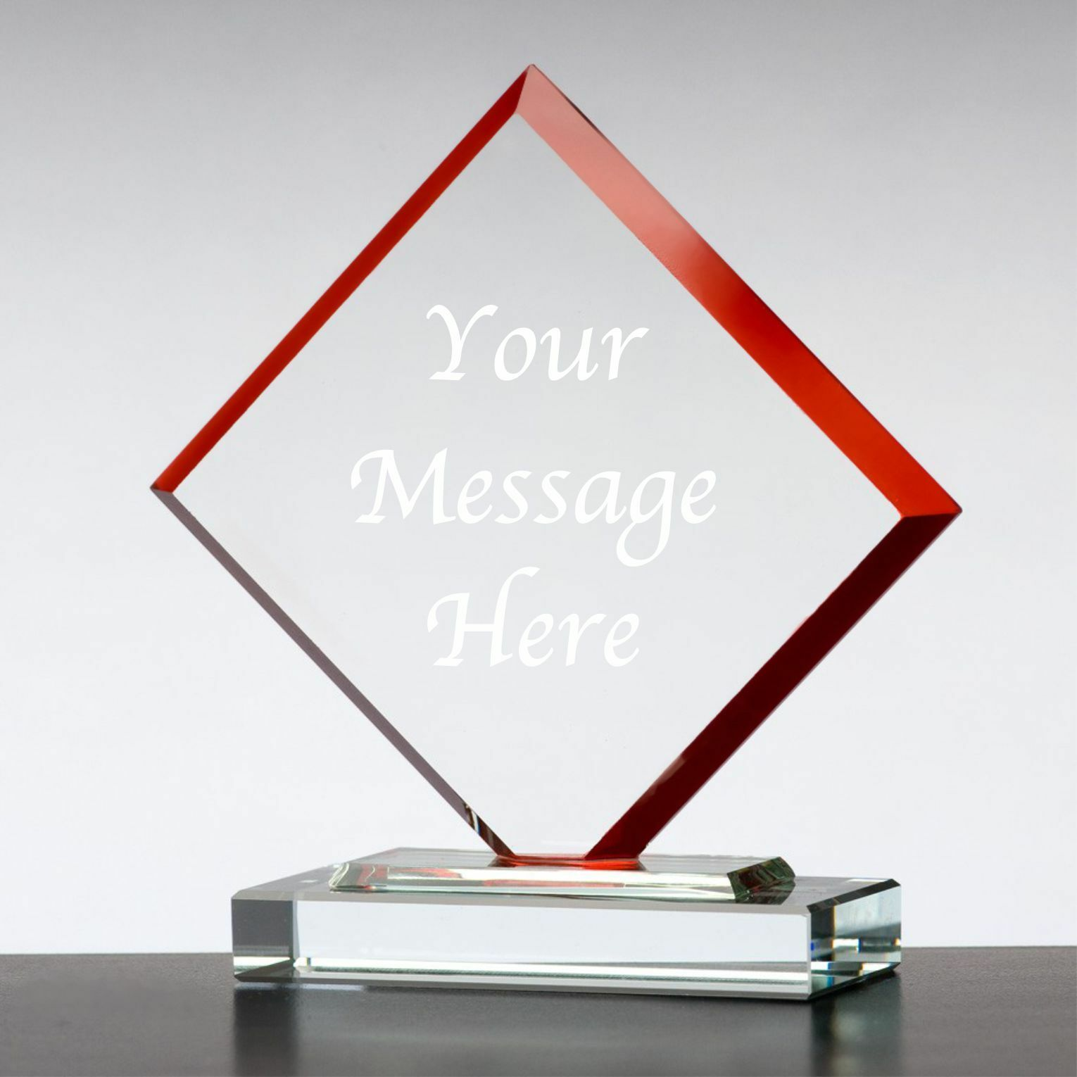 Personalised Engraved Glass Red Cube Trophy Award - Corporate Staff Recognition