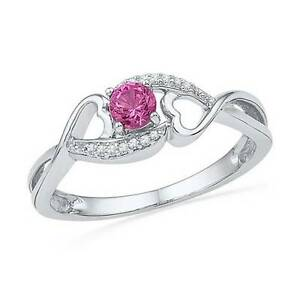 84d7e9dbe Sterling Silver Ring Pink Sapphire Lab Created & Diamond Accent Ring ...