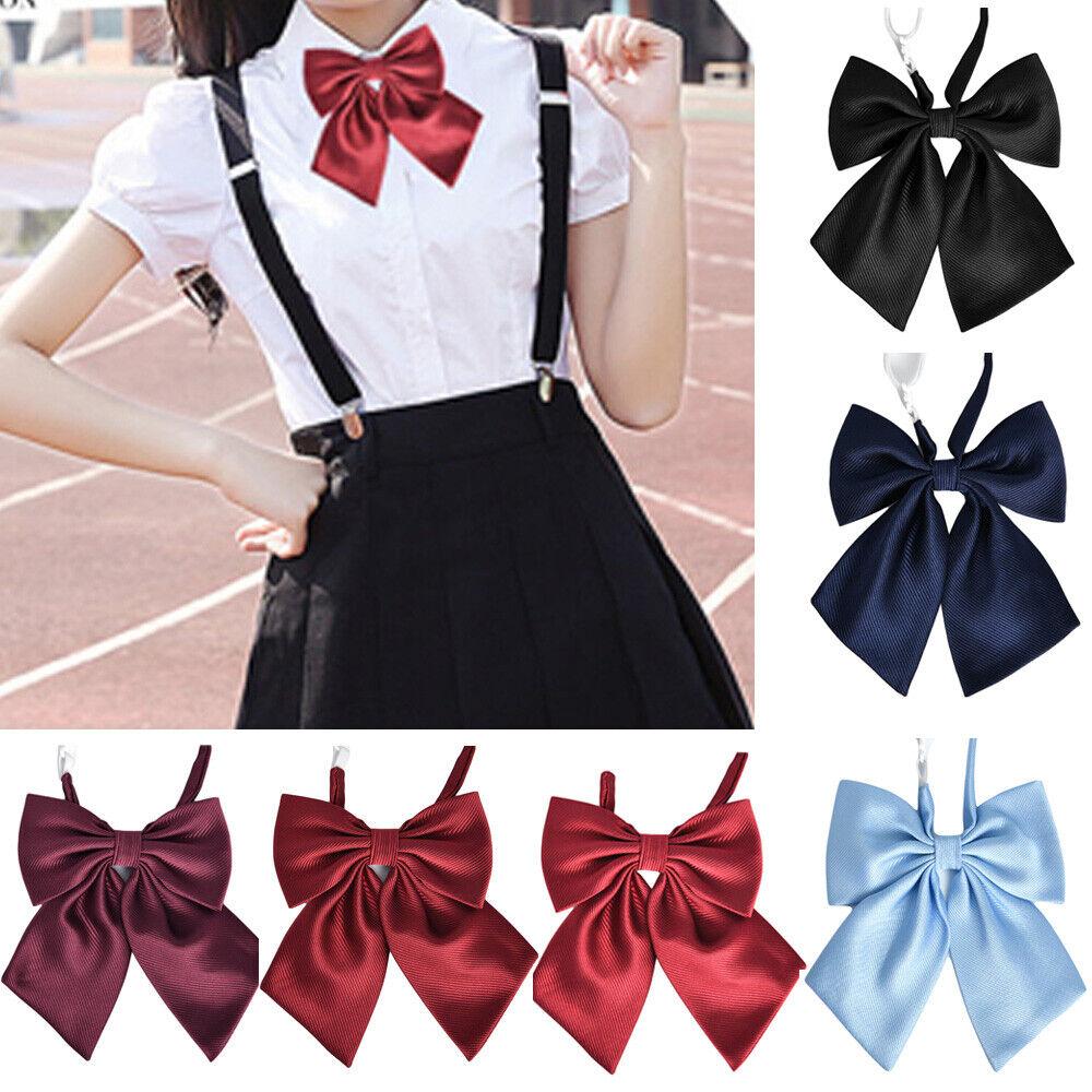 Women Girls Adjustable Casual Solid Stripe Necktie School Wedding Party Bowtie