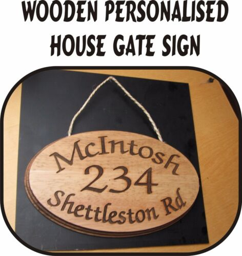 NUMBER SIGN 2 SIZES WOODEN PERSONALISED HOUSE GATE SIGN PLAQUE DOOR NAME