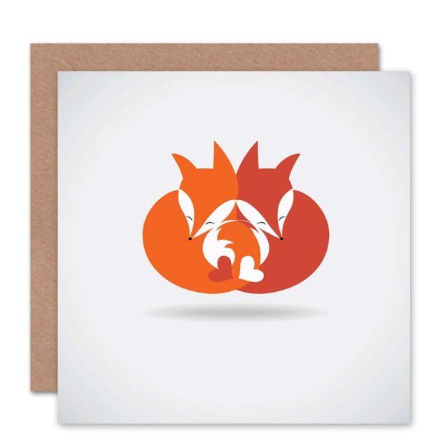 Fox Love Cartoon Valentines Day Hearts Blank Greetings Birthday Card Cs352