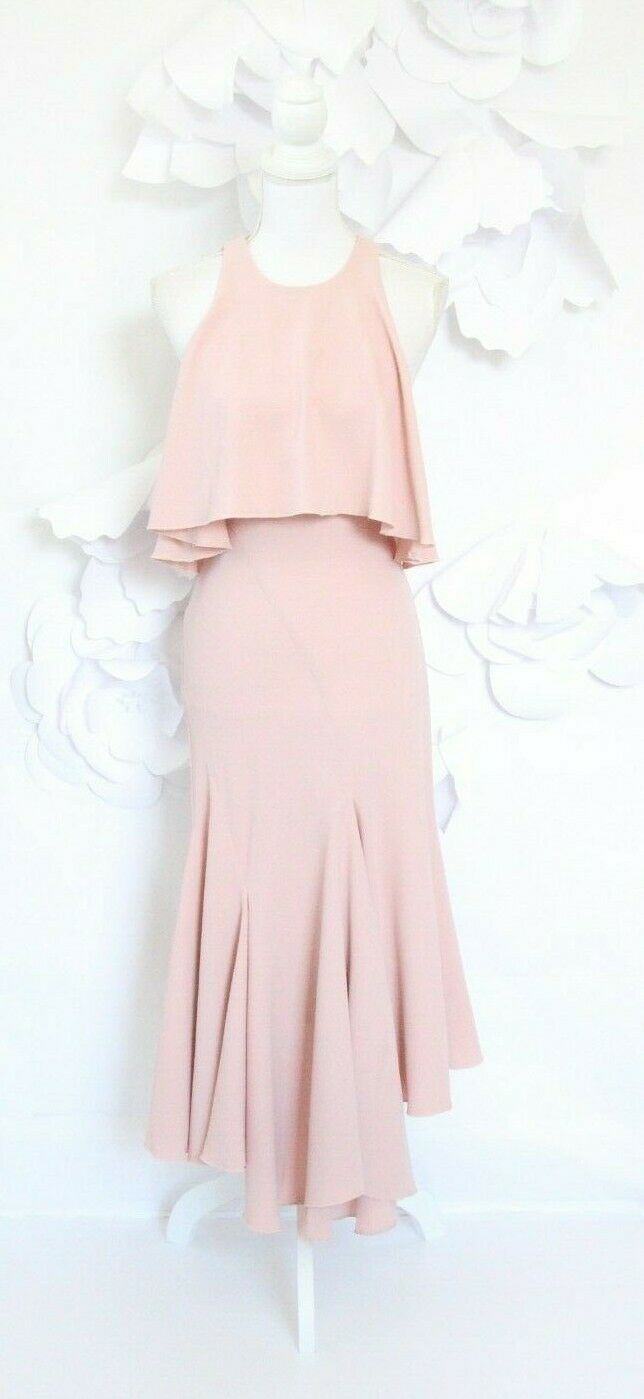 C MEO COLLECTIVE Asymmetric Ruffle Dress Midi Woherren XS Rosa Sleeveless Wedding