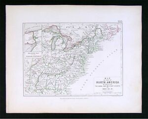 1855 Johnston Military Map North America United States War Of 1812