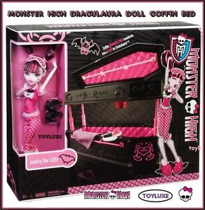Monster High Draculaura Doll Jewelry Box Coffin Bed Collectible