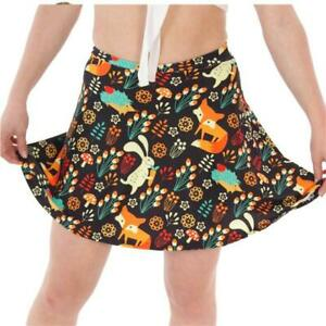 BROWN-FOXES-amp-BUNNIES-PRINTED-SKATER-MINI-SKIRT-ALTERNATIVE-GOTH-SIZE-8-18