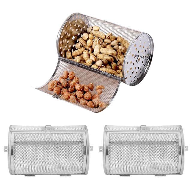 Stainless Steel Grill Oven Roaster Tumble Peanut Beans Basket BBQ Rotisserie B2U