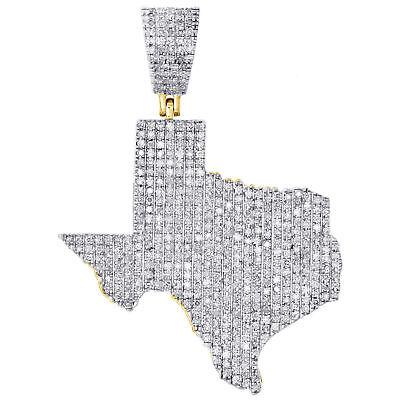 Fine Jewelry Men's 10k Yellow Gold Over Iced Out D/vvs1 Diamond Texas Map Charm Pendant .65ct Fine Necklaces & Pendants