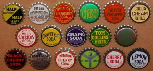 Vintage soda pop bottle caps GENERIC FLAVORS Collection of 33 different unused
