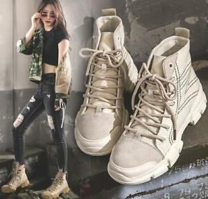 c1acfa36b9f6d Retro Women Ankle Boots Round Toe Lace Up Military Desert Shoes High ...