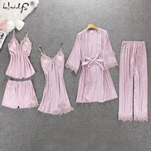 Women-Pajamas-Silk-Satin-Lace-5PCS-Set-Lingerie-Sleepwear-Babydoll-Nightwear-Pj