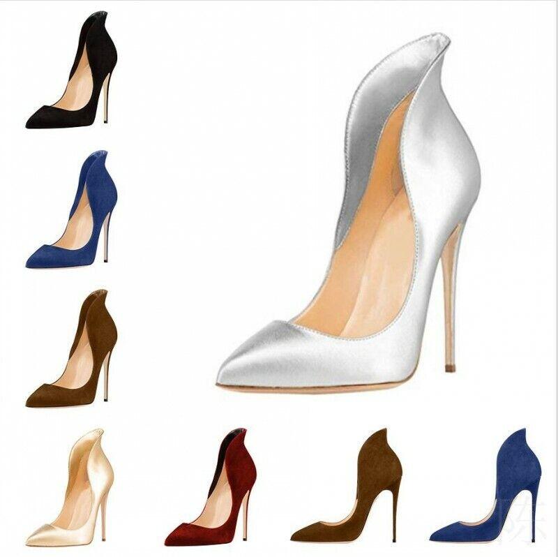 Damen Stilettos Lackleder High Heels Spitzschuh Party Schuhe 45 46  47 Hochzeit