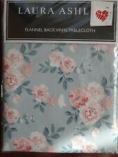 Laura Ashley Watercolor WILD MEADOW Floral Vinyl Flannel Back Tablecloth NIP