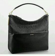 Calvin Klein simma leather- jacquard trimmed logo hobo shoulder bag black