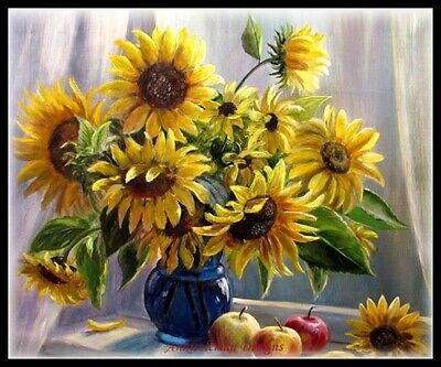Sunflowers on the window DIY Chart Counted Cross Stitch Patterns Needlework
