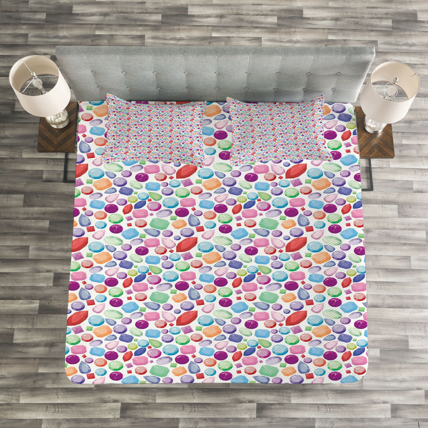 Diamonds Quilted Bedspread & Pillow Shams Set, colorful Stones Design Print