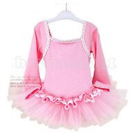 Hot New Kids Toddler Girls Leotard Ballet Long Sleeve Princess Tutu Dress Sz3-8Y