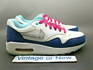 reputable site f24d7 2f2a5 Girls' Nike Air Max 1 White Silver Pink Blue Running GS 653653-100 ...