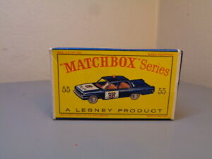 MATCHBOX-LESNEY-No-55B-VINTAGE-ORIGINAL-BOX-FOR-FORD-FAIRLANE-POLICE-CAR-NMINT