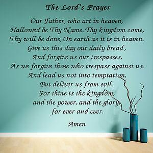 Details about THE LORDS PRAYER wall art vinyl sticker room decal script  bible scripture