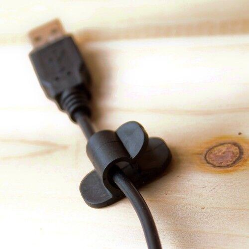 24p CABLE CORD WIRE GLUE TAPE TIE CLIP CLAMP WRAP ORGANIZER PHONE PC TV INTERNET