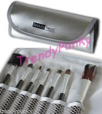 Makeup Brush SET Premium Soft Cosmetic Beauty Pouch Case Travel Kit Silver Grey