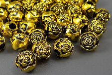 Perlen Rosen 25 St. 10mm Acryl Perle Großlochperlen Zwischenperlen Beads