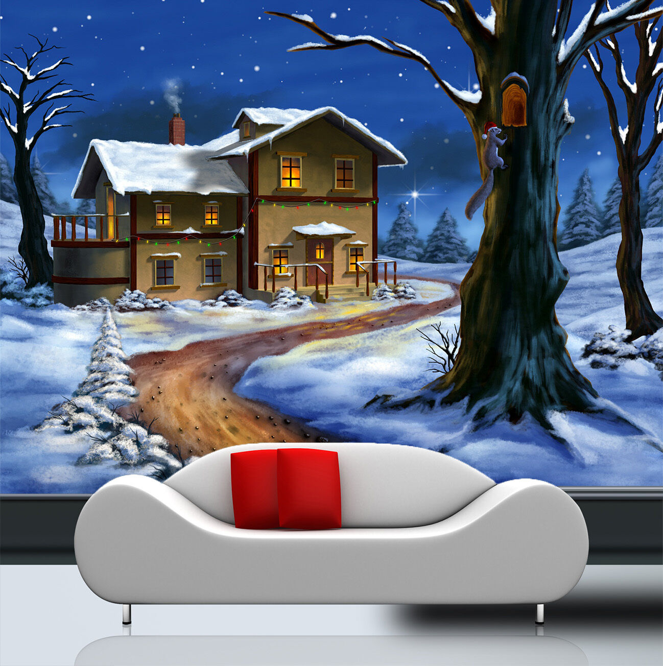 3D Snow Christmas Forest Wall Paper wall Print Decal Wall Deco Indoor wall Mural