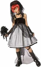 Goth Dark Bribe Costume Child Girls M Veil Flowers Dress Up Glovelets Gothic Emo
