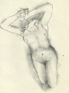 Peter Collins ARCA - Fine c.1970s Charcoal Drawing, Female Nude