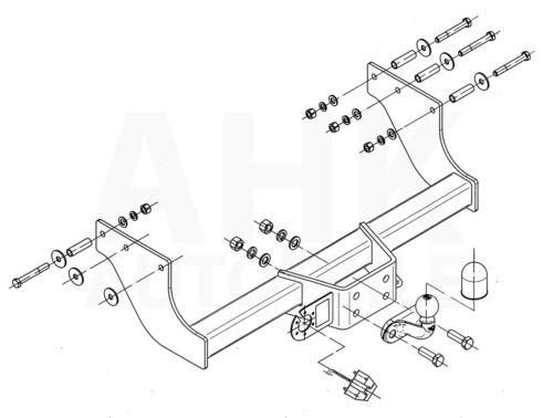 Für Ford Transit Pritsche verlängte Rahme 00-14 Anhängerkupplung starr+ES 13p