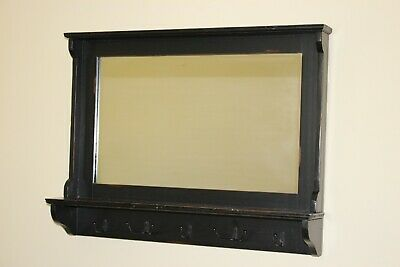 Large Black Wall Mirror With Coat Hooks