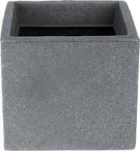 Grey Stone Effect Planters 20cm Cube Plant Pot Square Window box Indoor Outdoor