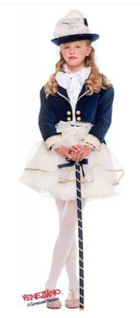 Veneziano Carnival Costume Elegant Dress Up Party Dress Lady 3 years Navy velvet