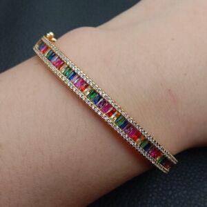 Bangle Bracelet Multi Color rectangle CZ  Bracelet 18k gold filled