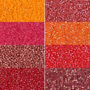 Miyuki-Delica-Beads-rund-11-0-1-6mm-rot-beere-orange-lachs-a-5-Gramm