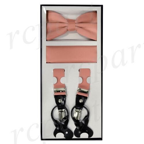 New Y back Men/'s Vesuvio Napoli Suspenders Bowtie Hankie dusty mauve Pink