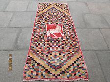 Traditional Hand Made Persian Oriental Gabbeh Runner Wool Checker Red 210x90cm
