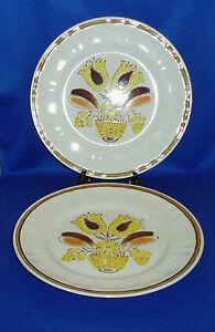 Two Handpainted Americana Hearthside Stoneware Beige \