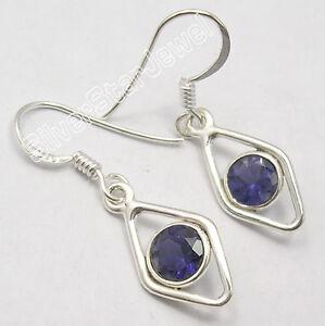 925-STERLING-Silver-Unseen-IOLITE-Gemstone-WOMEN-039-S-Earrings-1-3-034-HANDCRAFTED