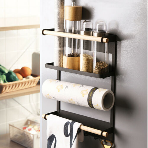 Magnetic Fridge Spice Rack Organizer 4 Tier Mount Refrigerator Side Hanger Shelf