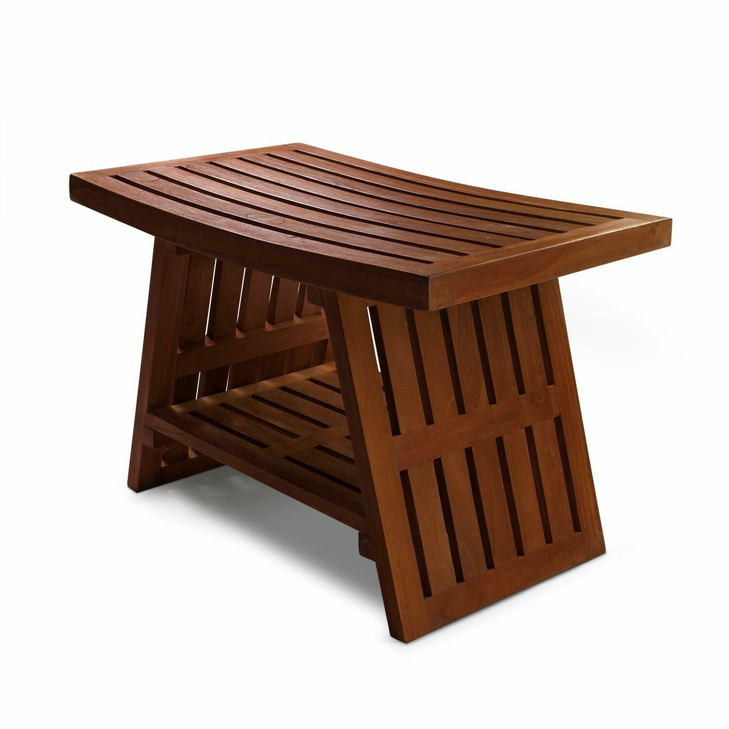 Hydroteak Hana Teak Wood Shower Bench W Shelf Bath Chair Spa Bathroom Assembled